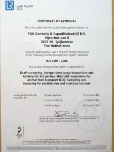 ISO certificate PGK